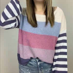 Sweaters - Casual Obsession Striped Sweater - Plum